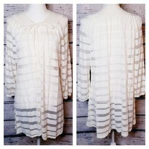 VTG 70s Boho Cream Terry Cloth/Lace Tie Cardigan